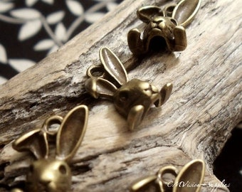10pcs Antique Bronze Miss Bunny Charms Pendants Drops A30-Rd