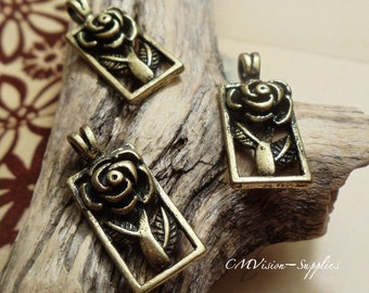 6 pcs of Antique Bronze Romantic Rose in Picture Frame Charms Pendants Drops Rd S30