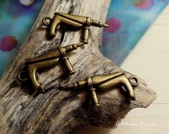 8pcs Antique Bronze Double-sided Electric Drill Tool Themed Charms Pendants Drops J25-Rd