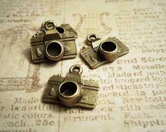 4pcs Antique Bronze 5mm diameter 3D Lens Camera Travel Theme Connectors Charms Pendants Drops Sdm S37