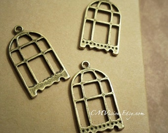 10pcs of Antique Bronze Flat  Birdcage  Charms Pendants Drops Rd-N07