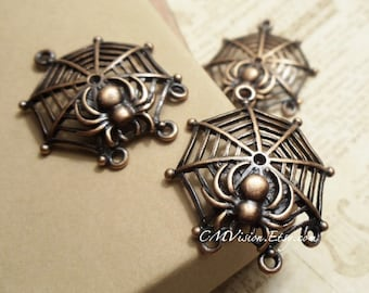 2pcs of Antiqued Red Copper Creepy Halloween Scary Taranchula  Wolf Spider Web Connector  Charms Pendants Drops M28-EY