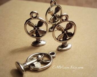 10pcs of Antiqued Silver Summer Breeze, 3D Vintage Fan Charms Pendants Drops Rd N01