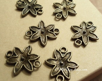 20pc of Antique Bronze Lovely Flower Connector Charm Pendant Drop Rd N11
