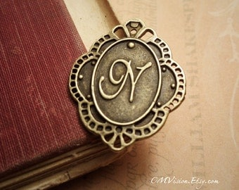 6pc of Antiqued Bronze Initial - Letter N, Connector Charm Pendant Drop Rd N56