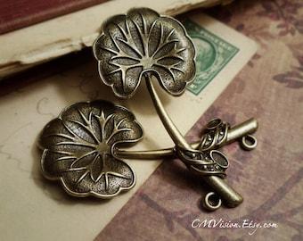 4pcs Antiqued Bronze Large Lotus Leaf Charms Pendant Drops M42-Rd