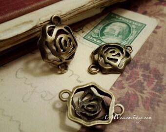 6pcs of Antique Bronze Filigree Rose Connector Charms Pendants Drops J31-Rd