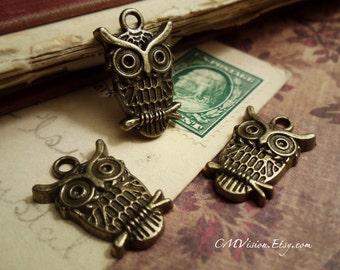 10pcs of Antique Bronze Cute Owl Charms Pendants Drops J04-Rd