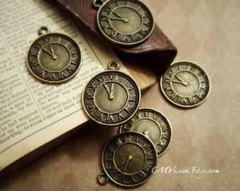 8pcs of Antique Bronze 18mm Vintage Roman Numeral Clock Charms Pendants Drops J49-Rd