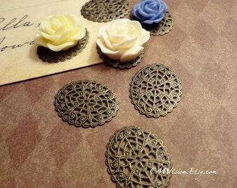 20pcs of Antiqued Solid Brass High Quality Victorian Oval Lace Flower Filigree Base Connectors Gz S01