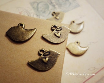 10pcs of Antiqued Bronze Sweet Loving Little Mod Bird Charms Pendants Drops M02-Rd