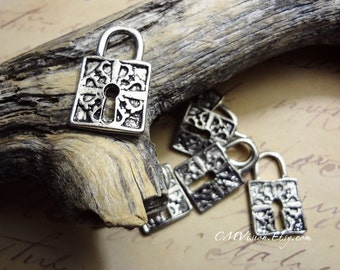 8pcs of Antiqued Silver Victorian Ornate Lock Tool Themed Charm Pendant Drop Connector N29-Rd