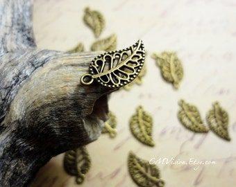 20pcs of Antiqued Bronze Filigree Leaf Charms Pendants Drops Connectors M55-Rd