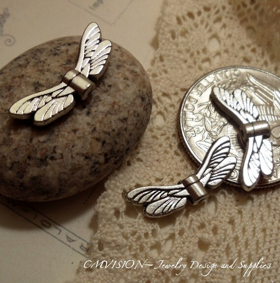 18 pcs of Tibetan Silver Dragonfly Wing Spacer  Beads I09-Rd