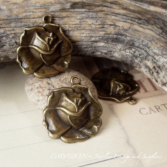 LAST 4 pcs of Antique Bronze Gorgeous Big Rose Charms Pendants Drops D26-Rd