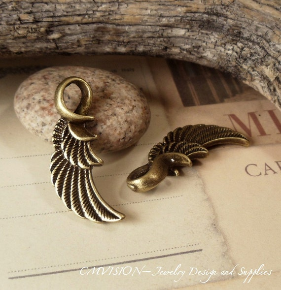 4pcs of Antique Bronze Angel's Wing Charms Pendants Drops H40-Rd