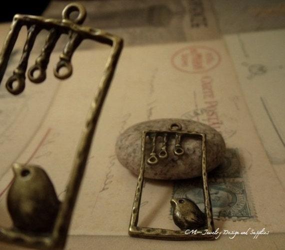 6pcs Antique Bronze Lovely Bird Swing Charms B05-Rd