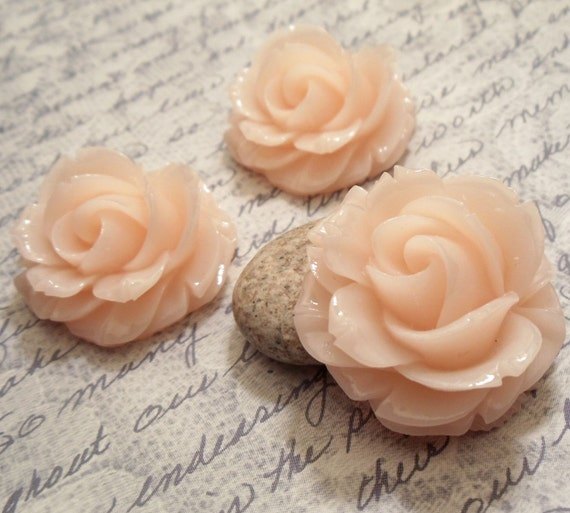 2pcs (Glossy Light Pink) - 37mm Highly Detailed Large Resin Rose