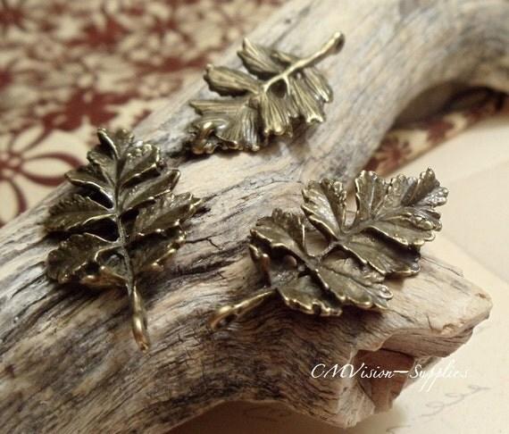 4pcs Antique Bronze Detailed Leaf Branch Connector Charms Pendant Drops B03-Rd