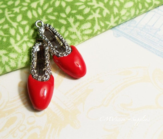 SALE 2pcs of Painted Glossy Scarlet Red Silver Plated Flats, Fashion, Valentine Special, Charm Pendant Drop Gs T02