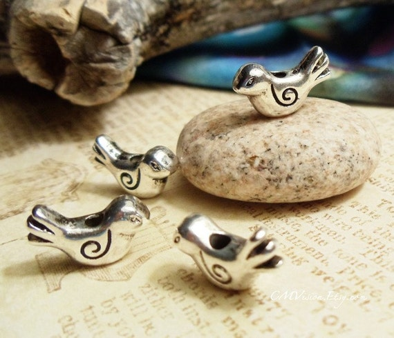 20pc of Tibetan Silver Cute Little Turtle Dove Bead H46-Rd
