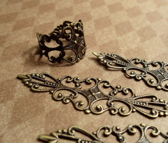 2pcs of Antiqued Brass Bendable Filigree Lace Connectors Super High Quality