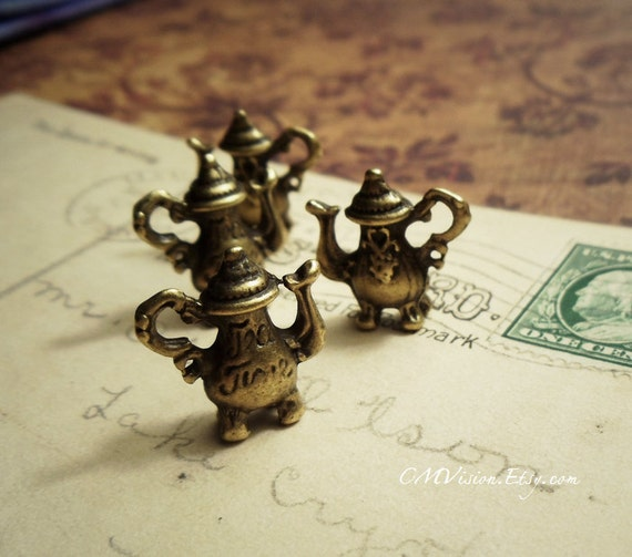 8pcs Antiqued Bronze 3D Afternoon Tea Time Teapot Charms Pendants Drops K23-Rd