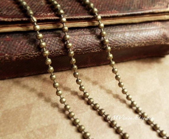 1000cm (10meters,10.93 yards)  Quality Antiqued Bronze 2.4mm Ball chain (most commonly used size) and 30pcs FREE Matching Crimps G03391
