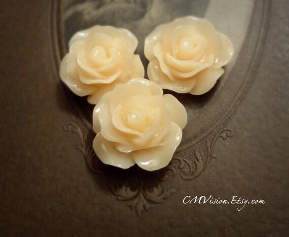 10pcs (Glossy Jello Peach) - 18mm Detailed Ruffled Resin Rose - Nice Deal - Sq5