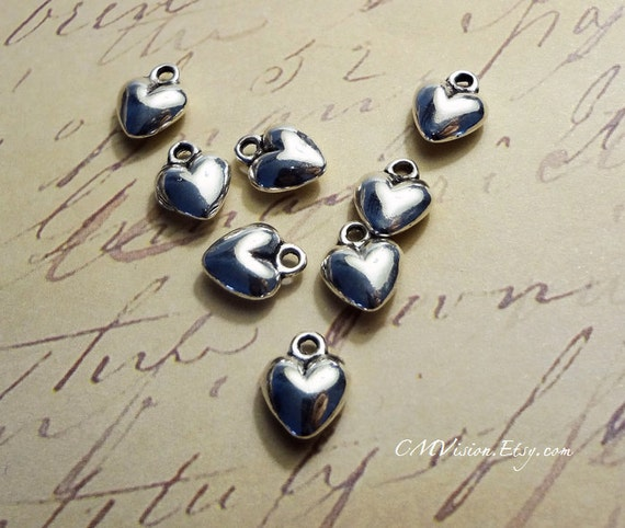 18pcs of Antiqued Silver 9mm 3D Heart of Love Charms Pendants, Extender  Drops, little embellishments M54-Rd