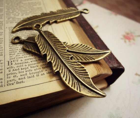6pcs of Antiqued Bronze 11x48mm Doulbe-sided Goose Feather (Medium) Charms Pendants Drops N25-Ey