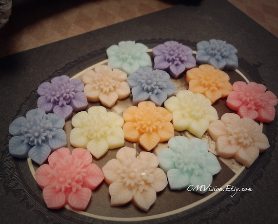 14pcs Sample Pack (2 of ea color) 20mm Quality Snow Blossom (ivory, peach, blue, pink, purple,mint) Sq