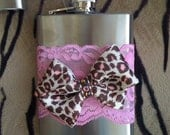 LAST ONE..  Clearance SALE today... Pink leopard bows pink lace stainless steel flask swarovski crystals 8 oz