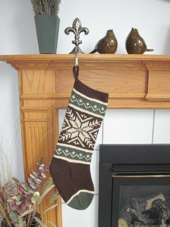 Brown, Green and Cream Knit Christmas Stocking