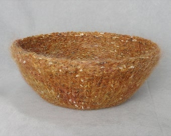 Handknit and Felted Tweedy Gold Wool and Mohair Bowl