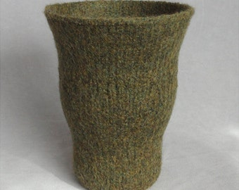 Felted Dark Green Heathered Wool Wavy Vase