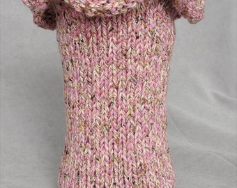 Handknit Pink and Gold Spring Ruffled Vase