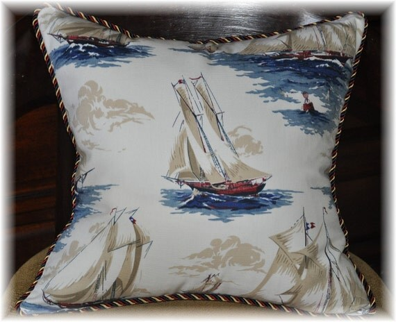 Decorative Pillows Travel Theme : Items similar to Decorative Accent throw pillow sailboat nautical theme, last one ready to ship ...