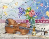 Colorful Print of Violin Painting
