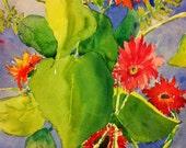 Art Print of Watercolor, Gerber Daisy, Custom Order