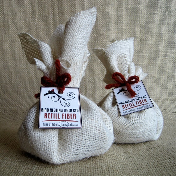 Bird Nesting Fiber Kit REFILLS - Filled with Llama or Alpaca Fiber