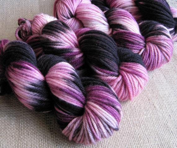 Roller Derby Diva - Superwash Merino Bulky Yarn - Hand Dyed Pink Black - 137 yds