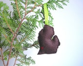 Michigan Eco Natural Ornament in Chocolate Brown Wool ... Made in Michigan