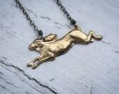 Running Rabbit Antique Brass Necklace