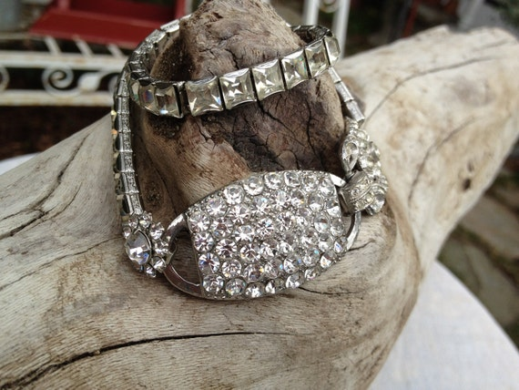 OOAK Art Deco Repurposed Paste Rhinestone Bracelet   Stunning
