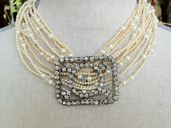 Antique Repurposed  Czech Rhinestone Buckle and multi Strand Vintage Pearl Necklace Bridal Heirloom