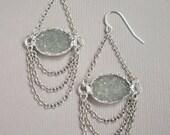 Sea Geen Druzy Earrings Drusy Quartz Sterling Silver Chandelier
