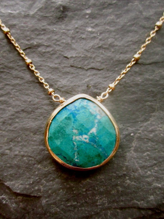 RESERVED VVN Chrysocolla Turquoise Gold Vermeil Bezel Set Healing Stone 14K GF Cable Bead Chain