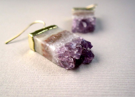 Amethyst Druzy Earrings Agate Drusy Quartz Stalactite Slice