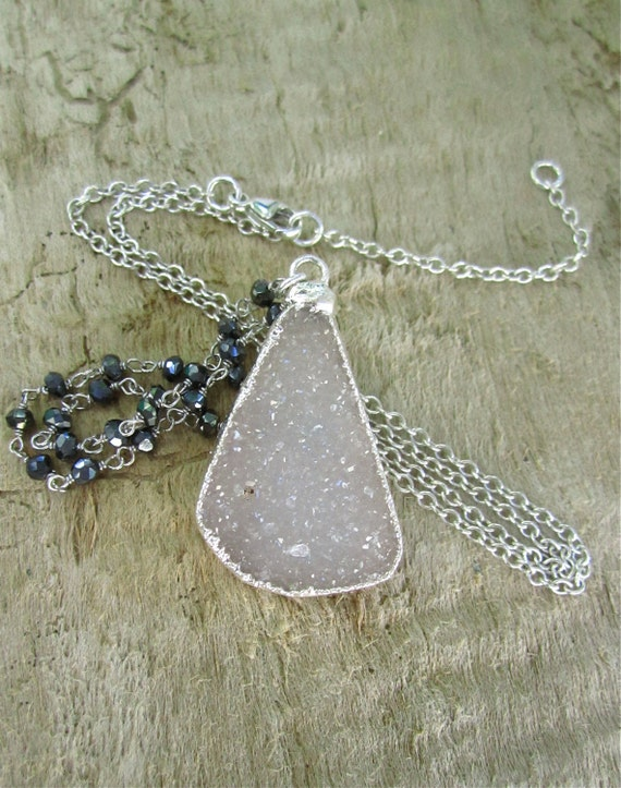 RESERVED for Stephanie Agate Druzy Necklace Grey Rose Drusy Quartz Sterling Silver Black Spinel
